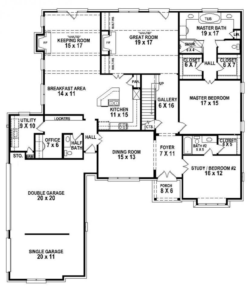 654263 - 5 Bedroom 4.5 Bath House Plan : House Plans, Floor Plans ...