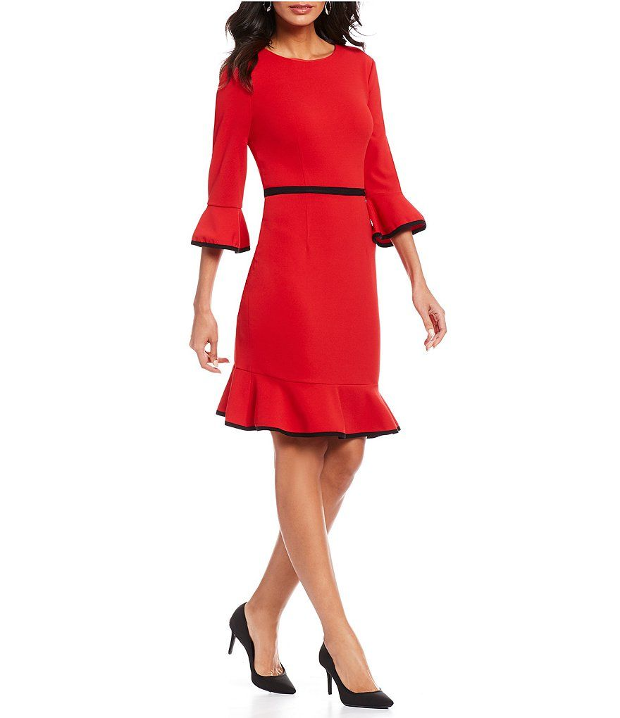 1c3729973de Donna Morgan Bell Sleeve Ruffle Hem Crepe Dress in 2018