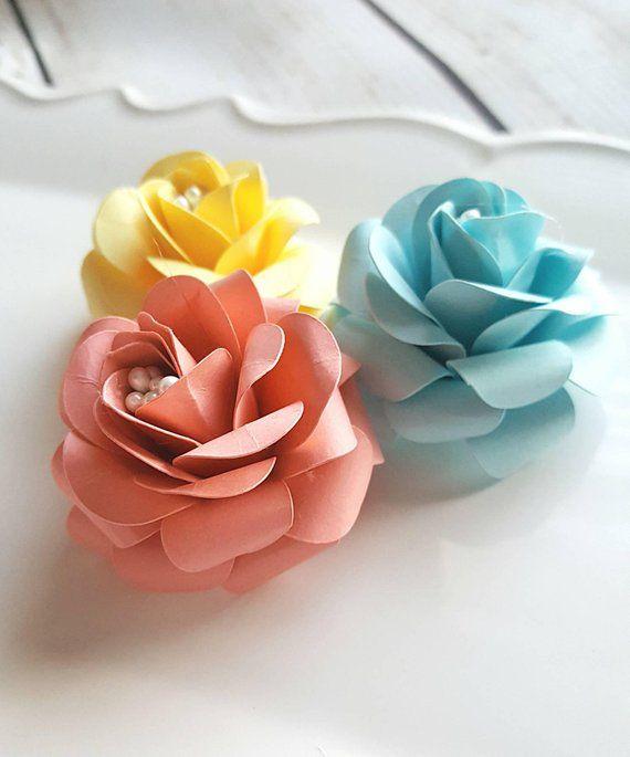 Handmade Paper Flowers Beach House Roses Scrapbook Card Making