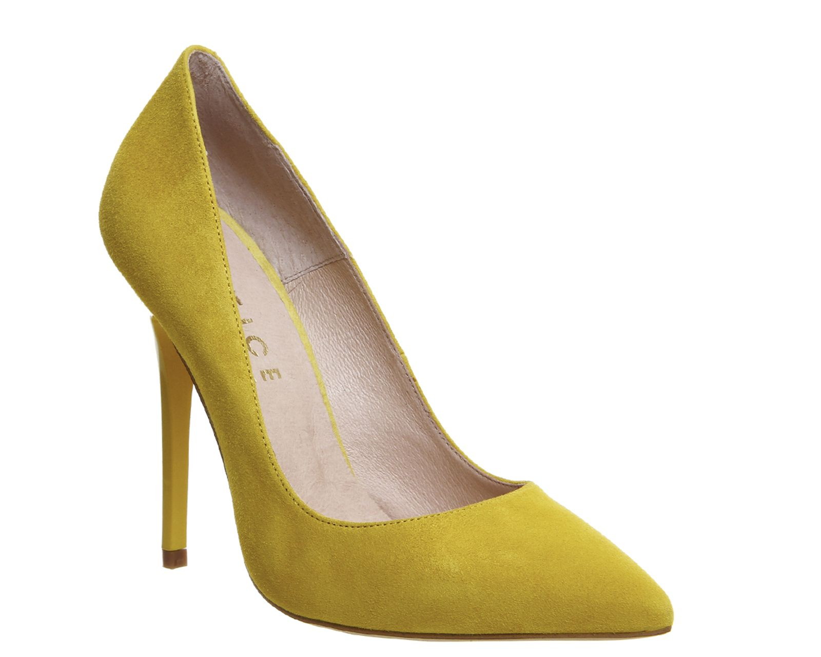 Office On To Point Court Heels Yellow Kid Suede - High Heels