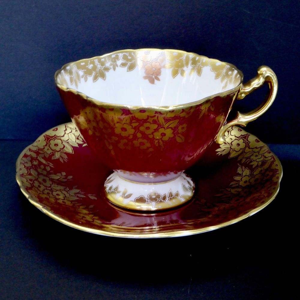 Hammersley Tea Cup Saucer 2177 Red Gold Floral 4 Sided Footed Scalloped Vtg #Hammersley