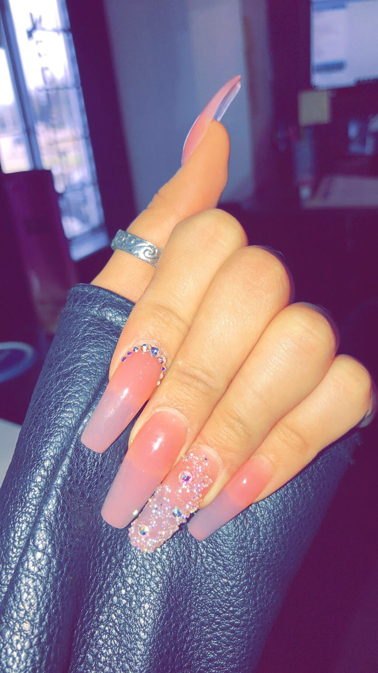 Clear Pink Clear Acrylic Nails Acrylic Nails Coffin Pink Pink Nails