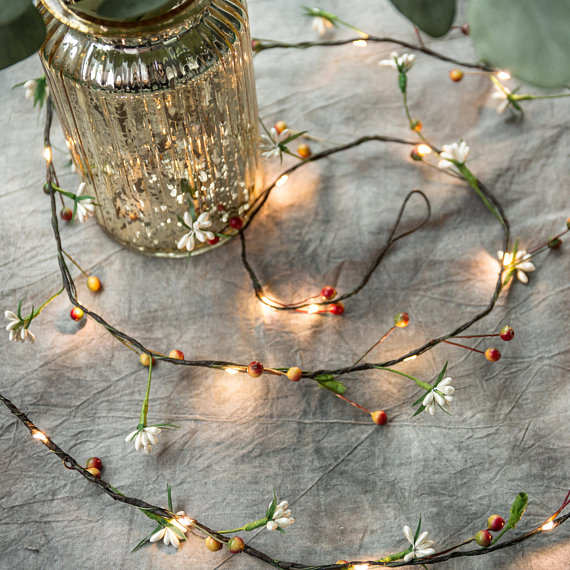 33FT 100 Micro LED Flower Garland Vine String Lights With Battery