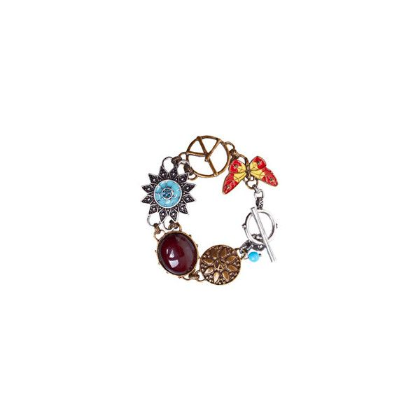 Fashion Union › Flower & Peace Bracelet ($9.22) ❤ liked on Polyvore