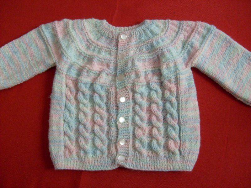 Tejido a palillo con nube este hermoso chaleco de suaves colores para bebe bebe tejidos - Tejer chaqueta bebe 6 meses ...