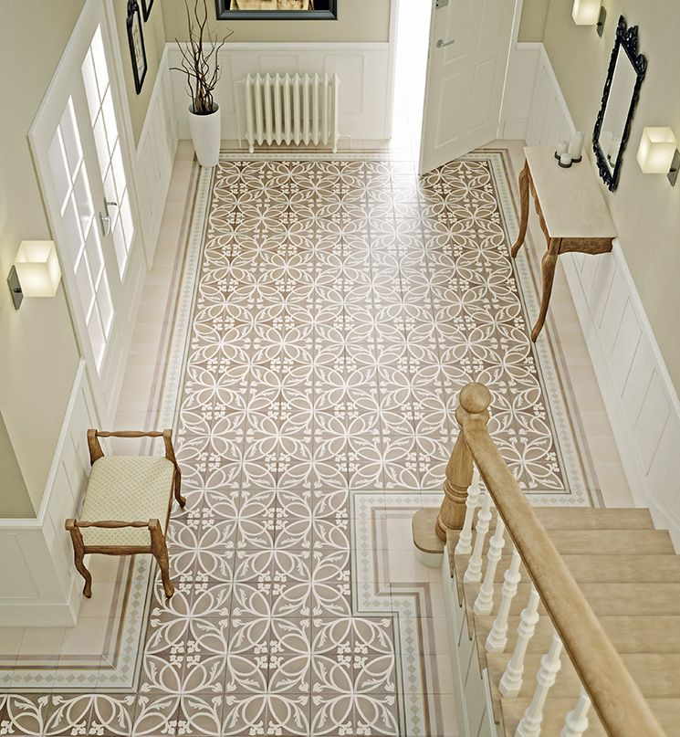 Encaustic tiles create interest and add a decorative touch whilst being easy to maintain. London Trafalgar Decor tiles in Taupe with London Victoria border and corner tiles, all 20cm x 20cm, £45 a square metre, The Baked Tile Company