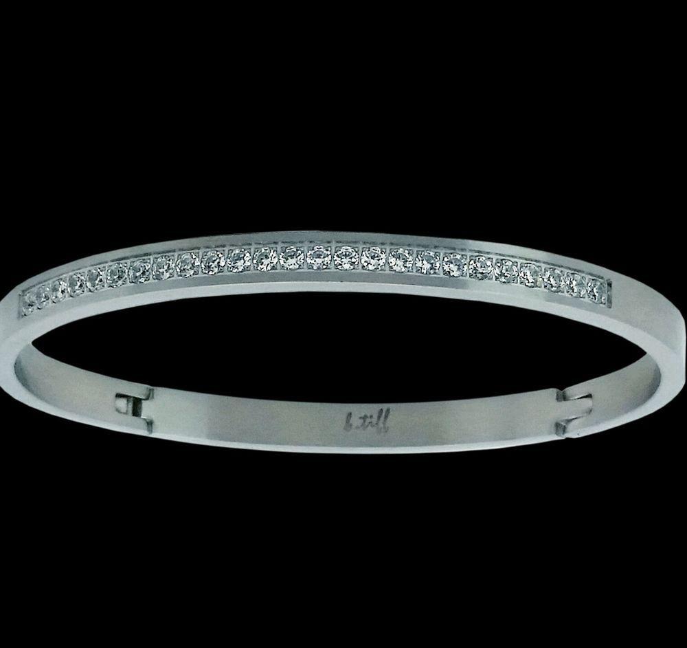 B Tiff Brighter Than Diamond Stainless Steel Eternity Bangle Bracelet Msrp 175 Btiff Bangle Bangles Bangles Style Diamond