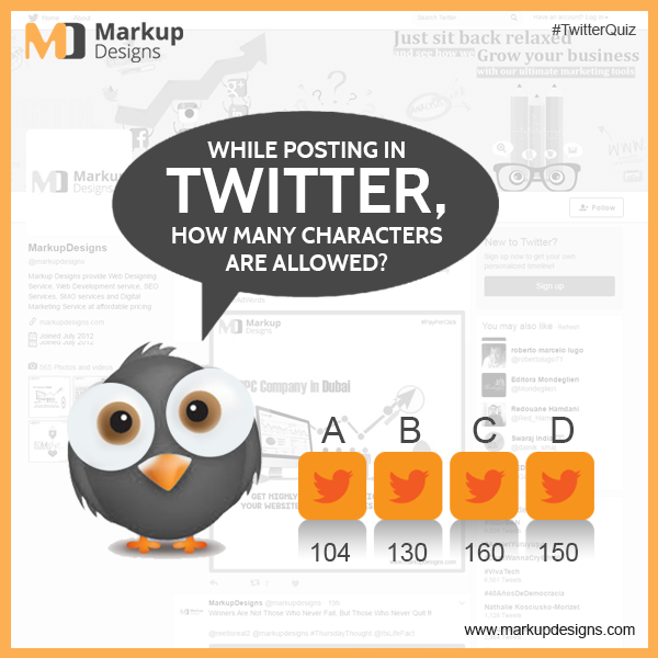 While posting in Twitter, How many characters are allowed