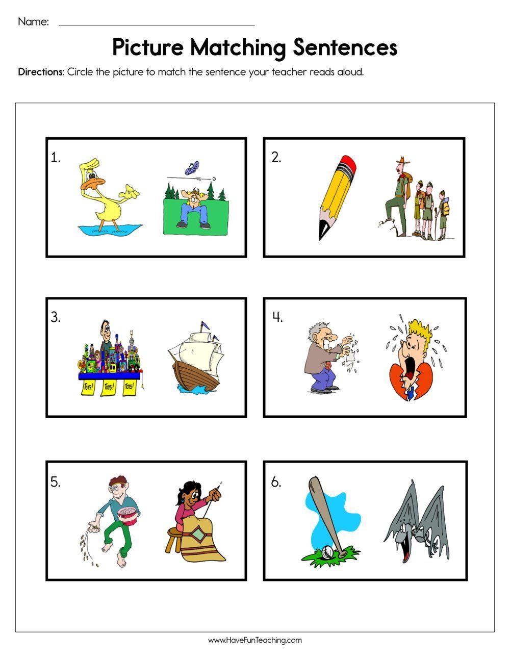 Picture Matching Sentences Worksheet Text Features Worksheet Text Features Have Fun Teaching