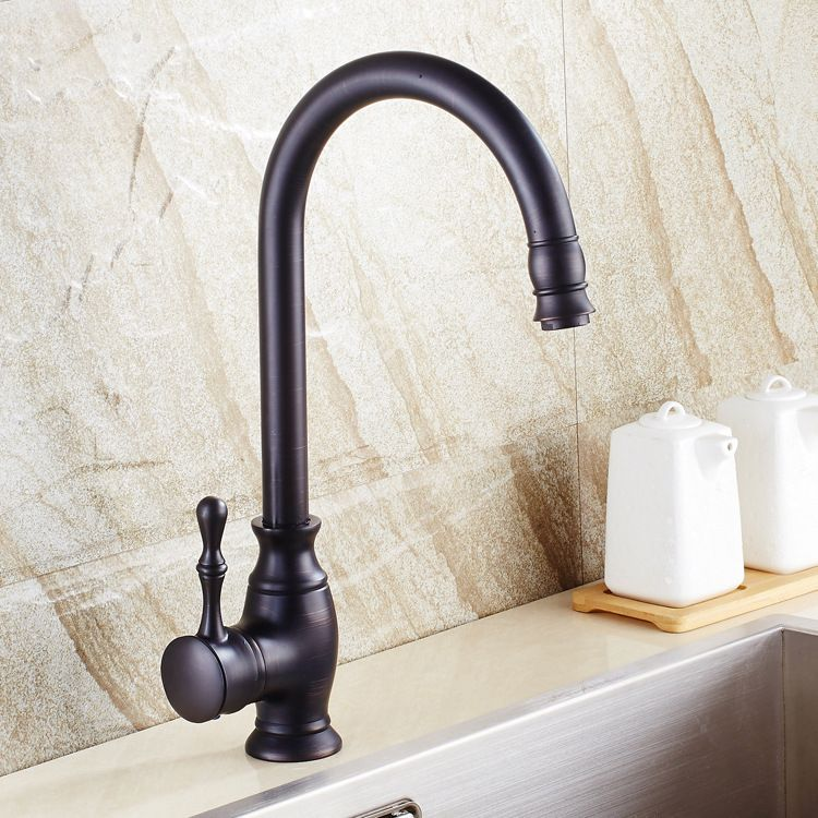 Kitchen sink faucet black bronze copper imitation black patina ...
