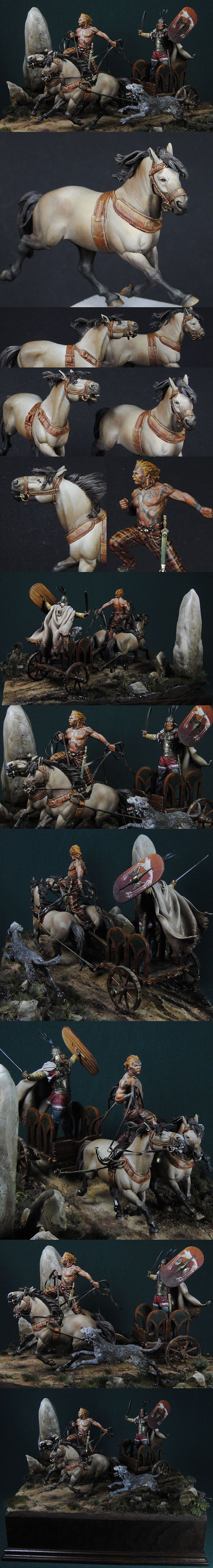 Celtic Chieftain Chariot painted by rusto scratchbuilted by Andrea Jula, 75mm.