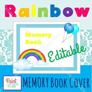 $190 A MEMORY BOOK COVER with a rainbow  balloon theme! Add kids
