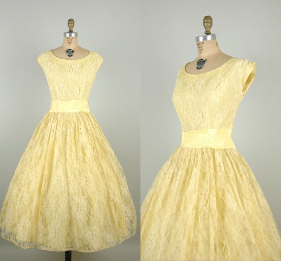 1950s Pale Yellow Prom Dress / Vintage Lace Tea Length Wedding ...