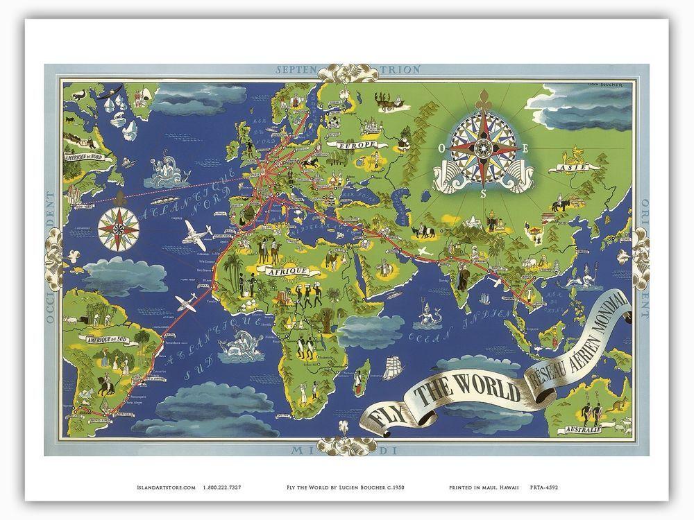 Air france world map lucien boucher 1950 vintage airline travel air france world map lucien boucher 1950 vintage airline travel poster print vintage gumiabroncs Images
