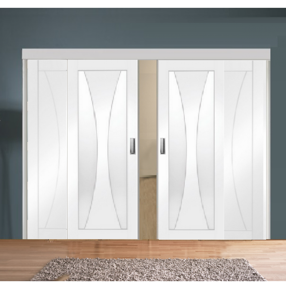 Sliding Room Divider with White Verona Glazed & Solid Panel Doors ...