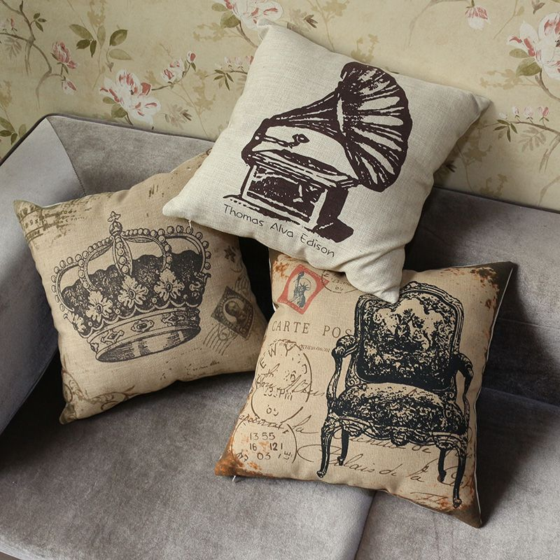 Vintage Style Sectional Sofa Cushion Covers Bedding Pillow Case