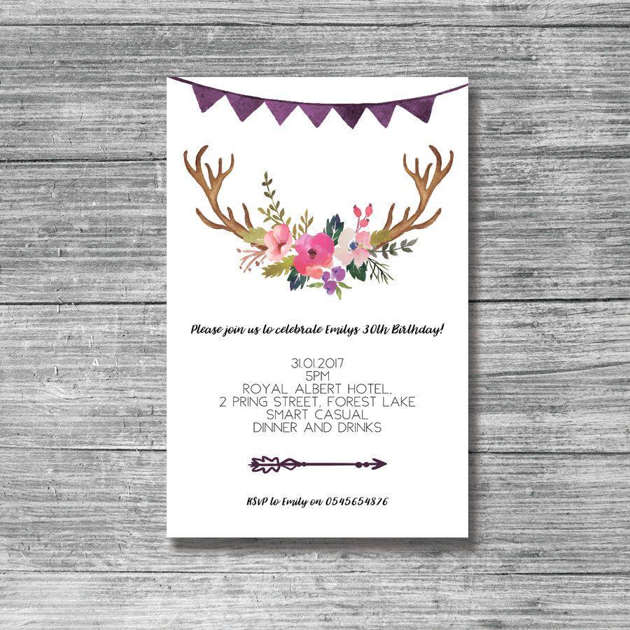 boho, bohemian, antlers, 30th, 21st, 40th, 50th, birthday invite ...