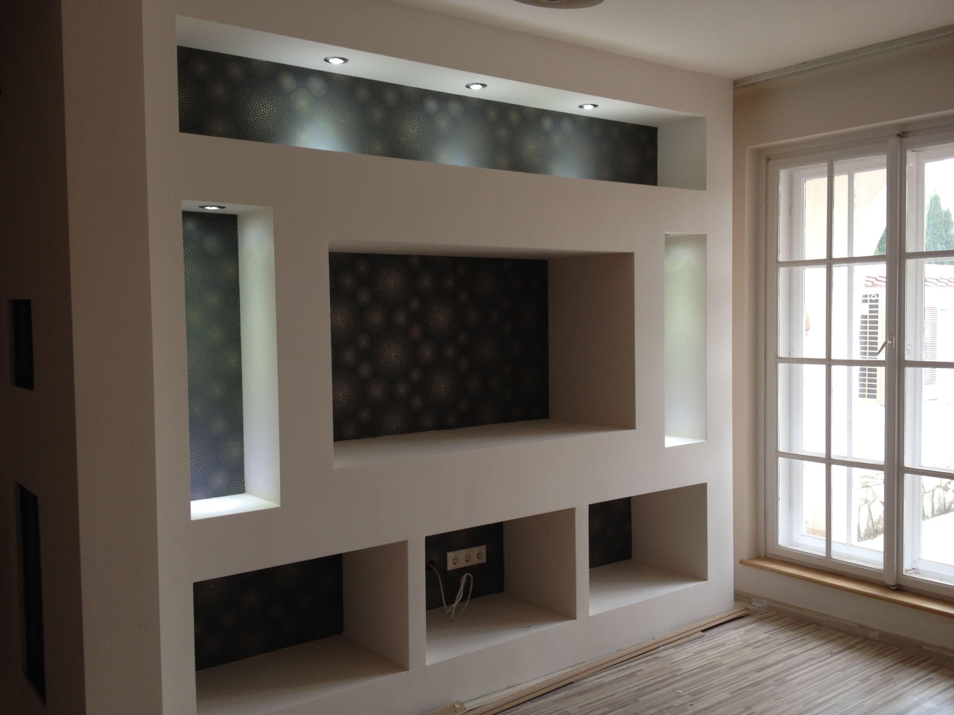 Muebles Lcd Decoraci N De Casa Pinterest Tvs Tv Walls And  -> Estante Gesso Sala Tv