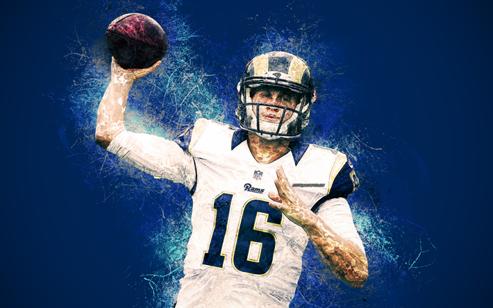 Download Wallpapers Jared Goff 4k Art Grunge Style Los Angeles Rams American Football Nfl Usa Creative Art Blue Grunge Background National Football Le Los Angeles Rams Jared Goff American Football