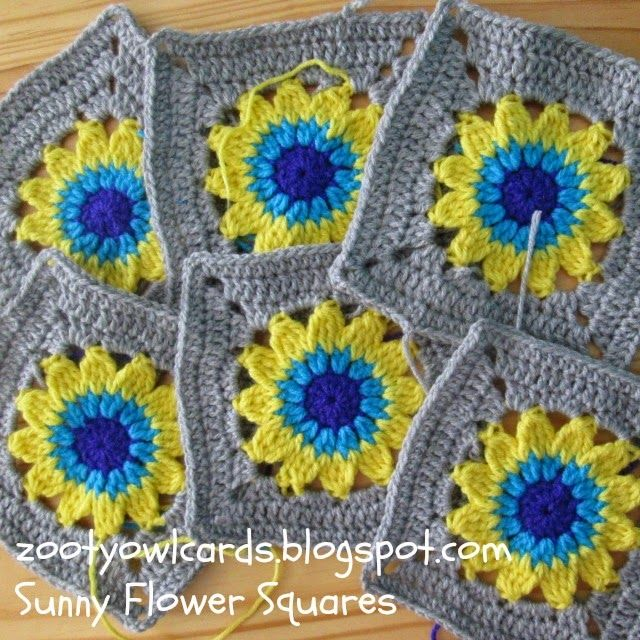Happy Days Cal 2 Sunny Flower Squareee Pattern Knitting
