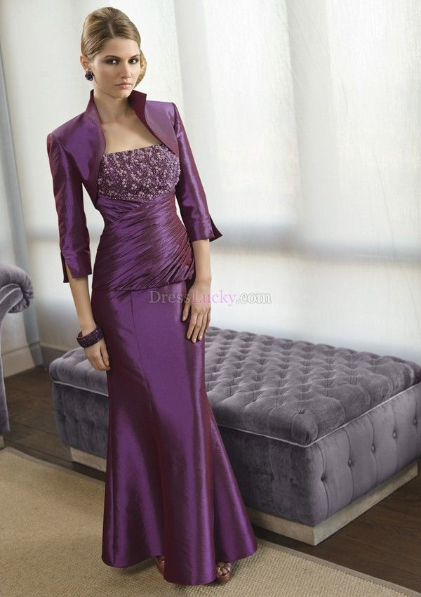 Purple Strapless Zipper Up Long/Floor-length Taffeta Mother Of The Bride Dresses With Beading MD1A8C