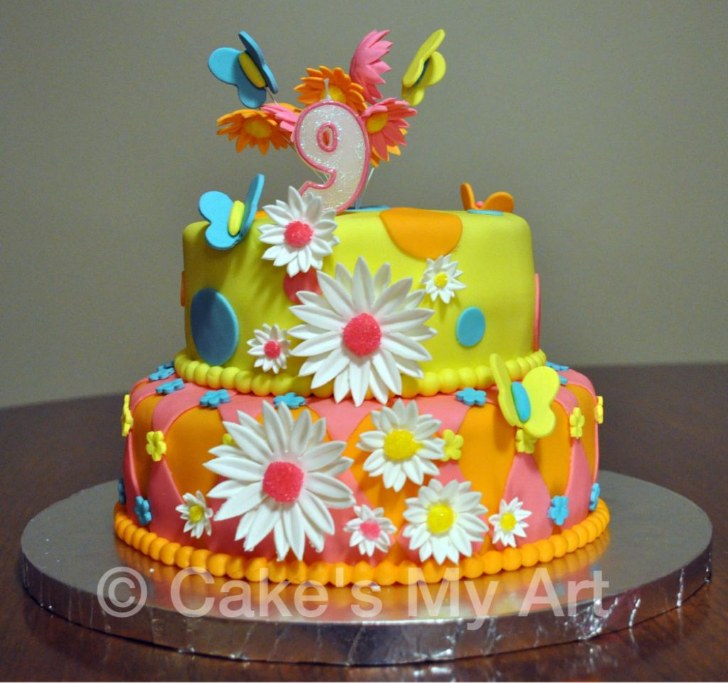 Marvelous Birthday Cake For A 9 Year Old Girl Birthday Theme Was Summer Funny Birthday Cards Online Alyptdamsfinfo