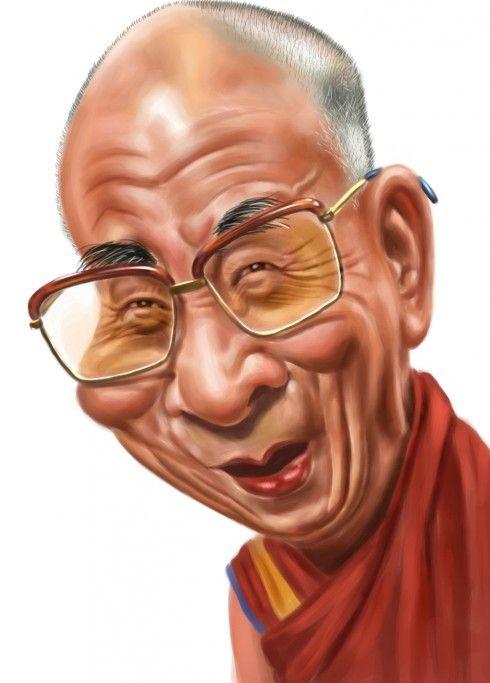 Caricature / the Dalai Lama by Manoj Sinha #inspiration #dalailama #quotes UNA VEZ AL AÑO VE A ALGUN LUGAR,EN EL QUE NUNCA HAYAS ESTADO ANTES JJJIII
