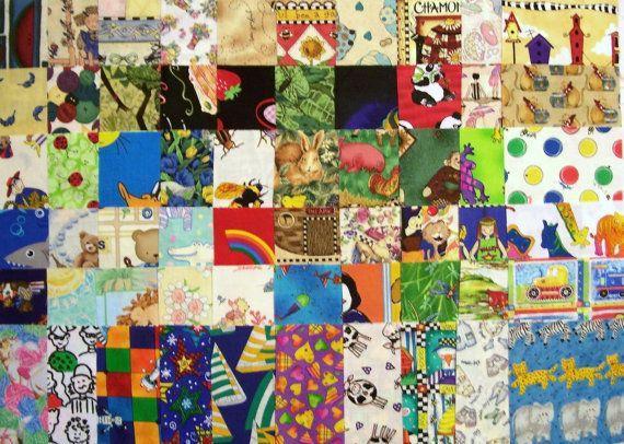 40  I Spy  5 Charm Squares  Cotton Quilt Fabric  by fabricalacarte, $8.00