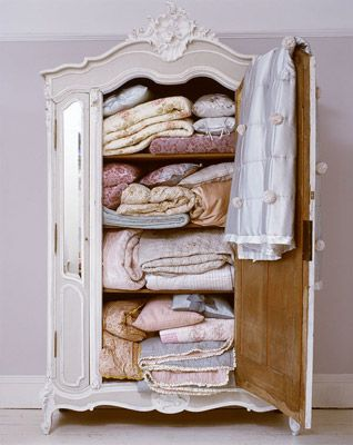For the love of linens-lovely old french armoire painted shabby chic makes a great place to store clean linens or towels