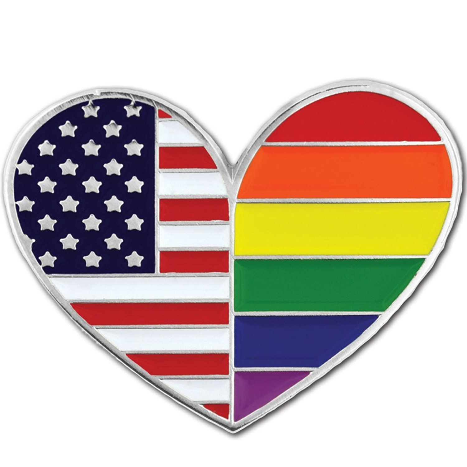 rainbow colored pin and gay pride flag and heart