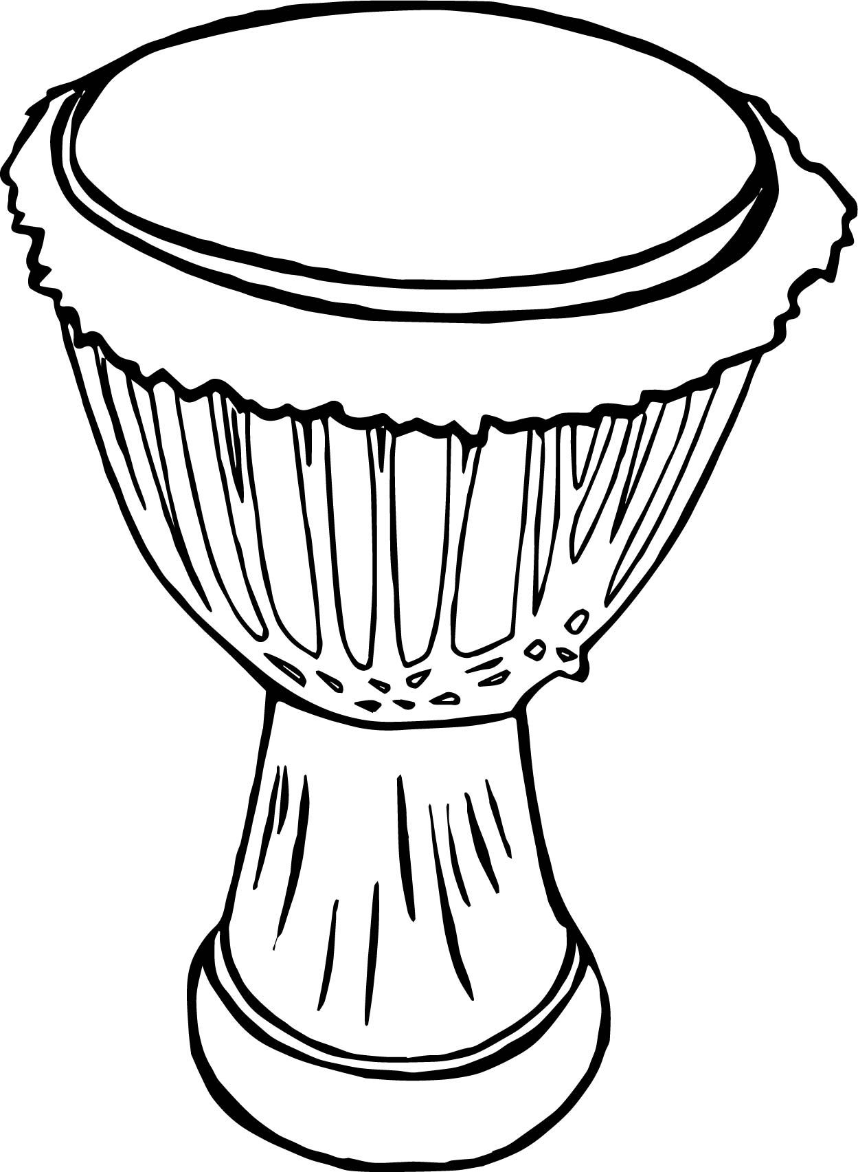 Awesome African Drum Coloring Page African Drum Drum Drawing