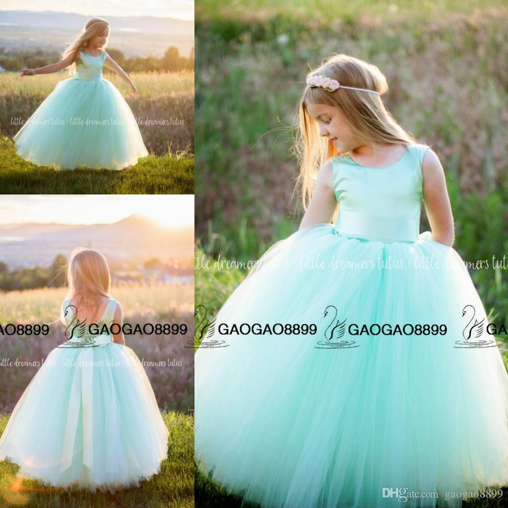 Mint Green Tulle Stain Little Princess Formal Party Dresses 2016 ...