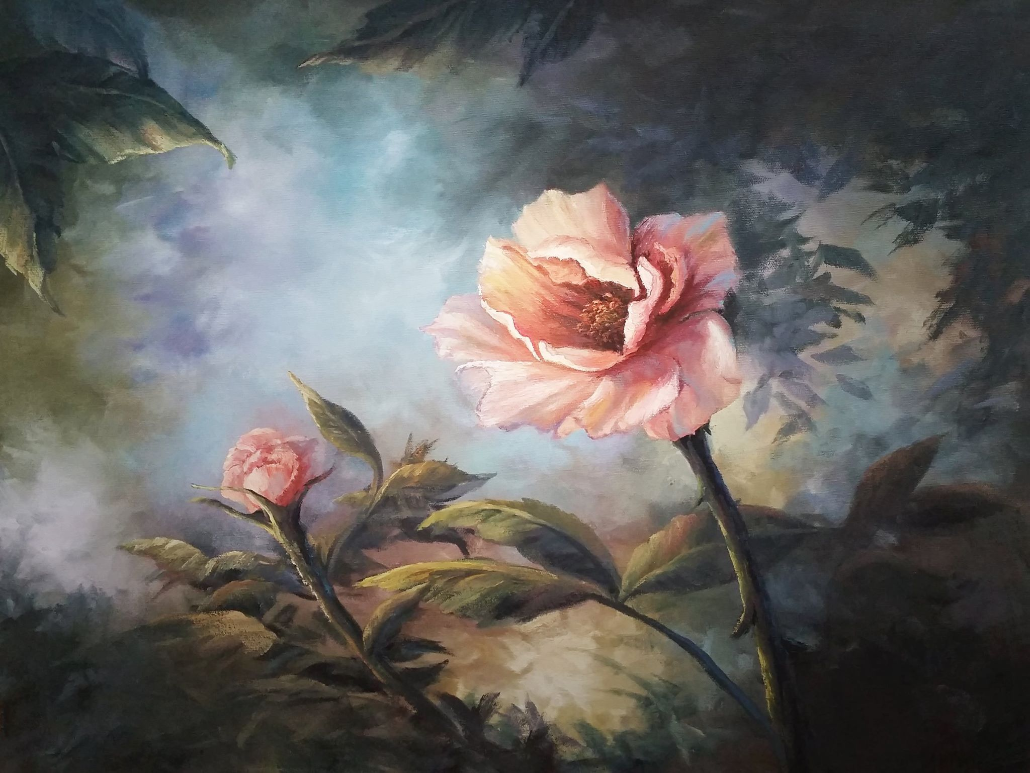 Quot Colorful Pink Rose Quot Oil Painting By Kevin Hill Check Out