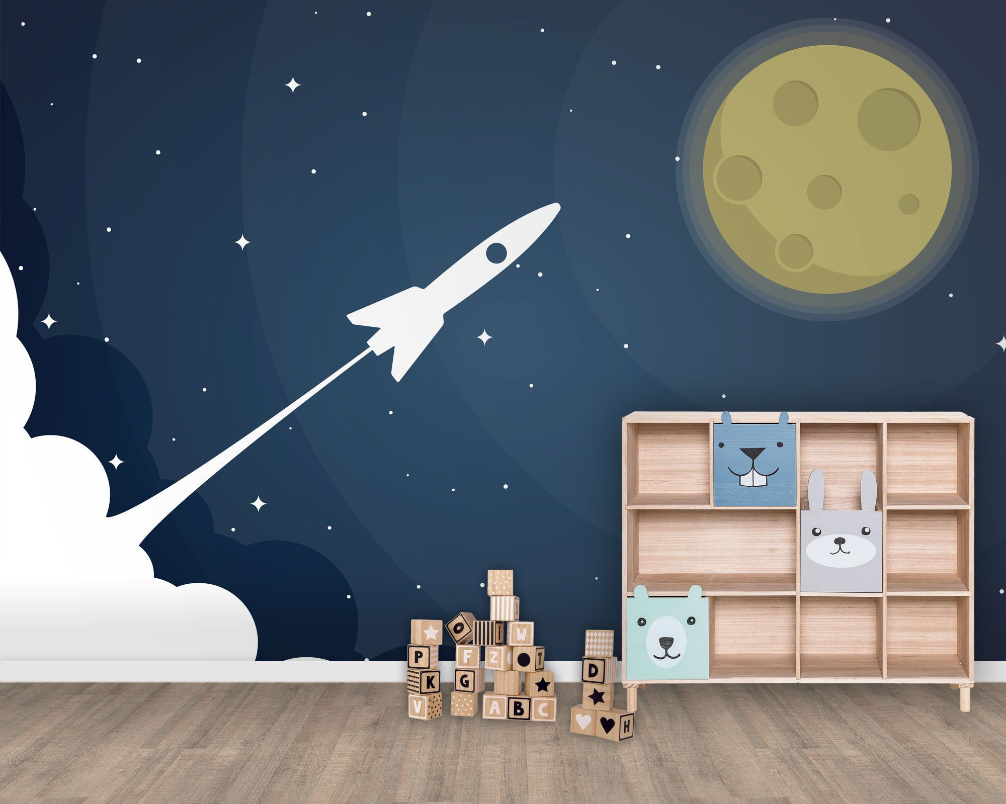 Tapete, Fototapete, Kinderzimmer, Babyzimmer, Mond, Rakete ...