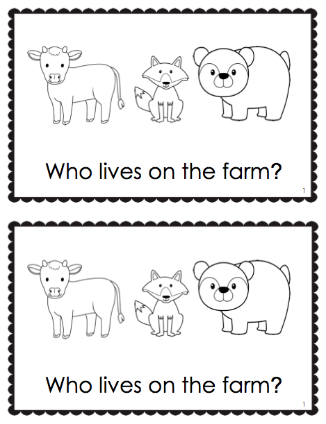 'Living On The Farm' Emergent Reader + Vocabulary Cards