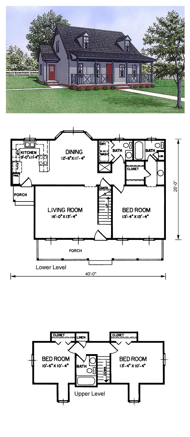 Cape cod house plan 45492 total living area 1424 sq ft for 5 bedroom cape cod house plans
