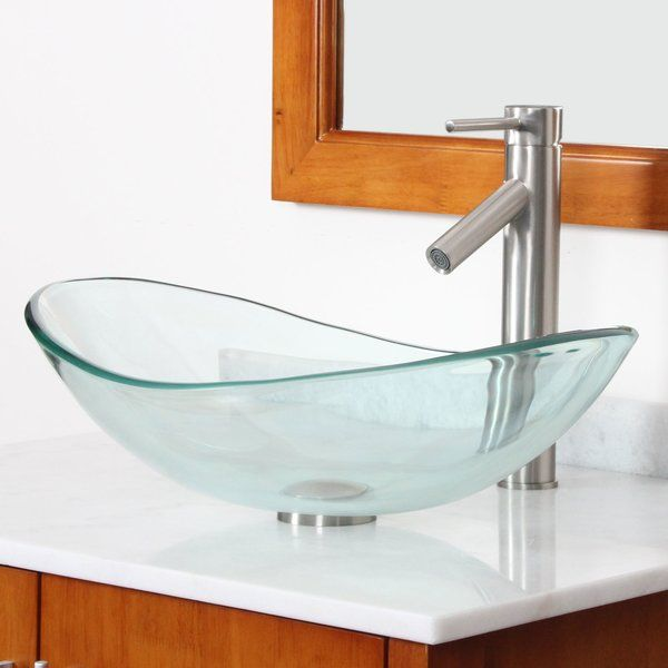 Elite Clear Boat Shaped Tempered Glass Bowl Bathroom Vessel Sink Interesting Sink Bowl Bathroom Decorating Design