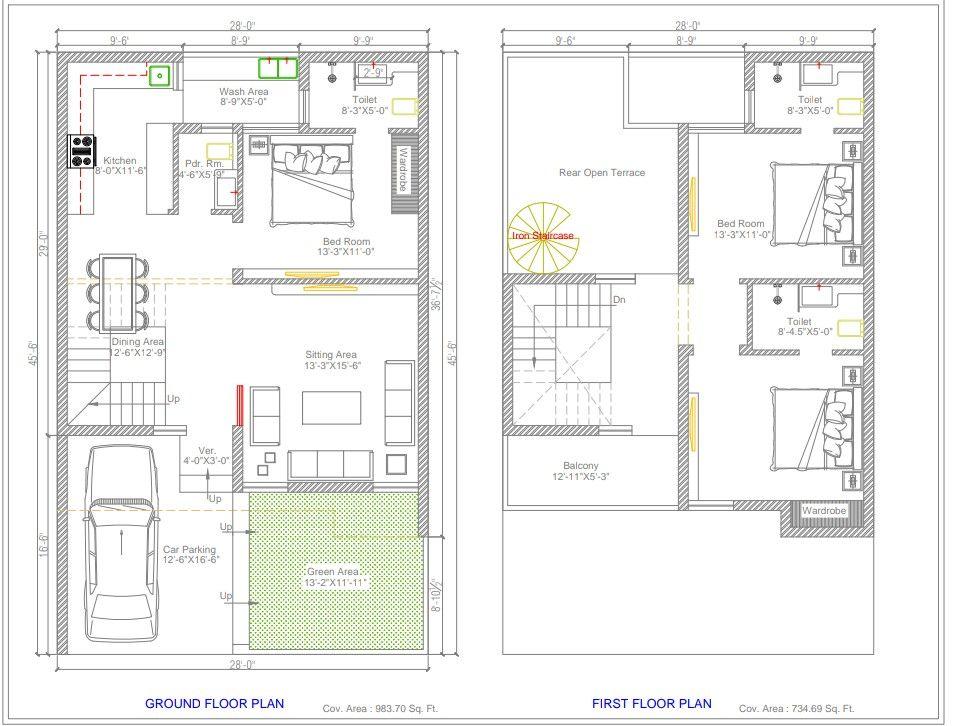 28x45 Floor Plan 3bhk Home Planning Apartment Floor Plans Luxury House Plans Small House Plans