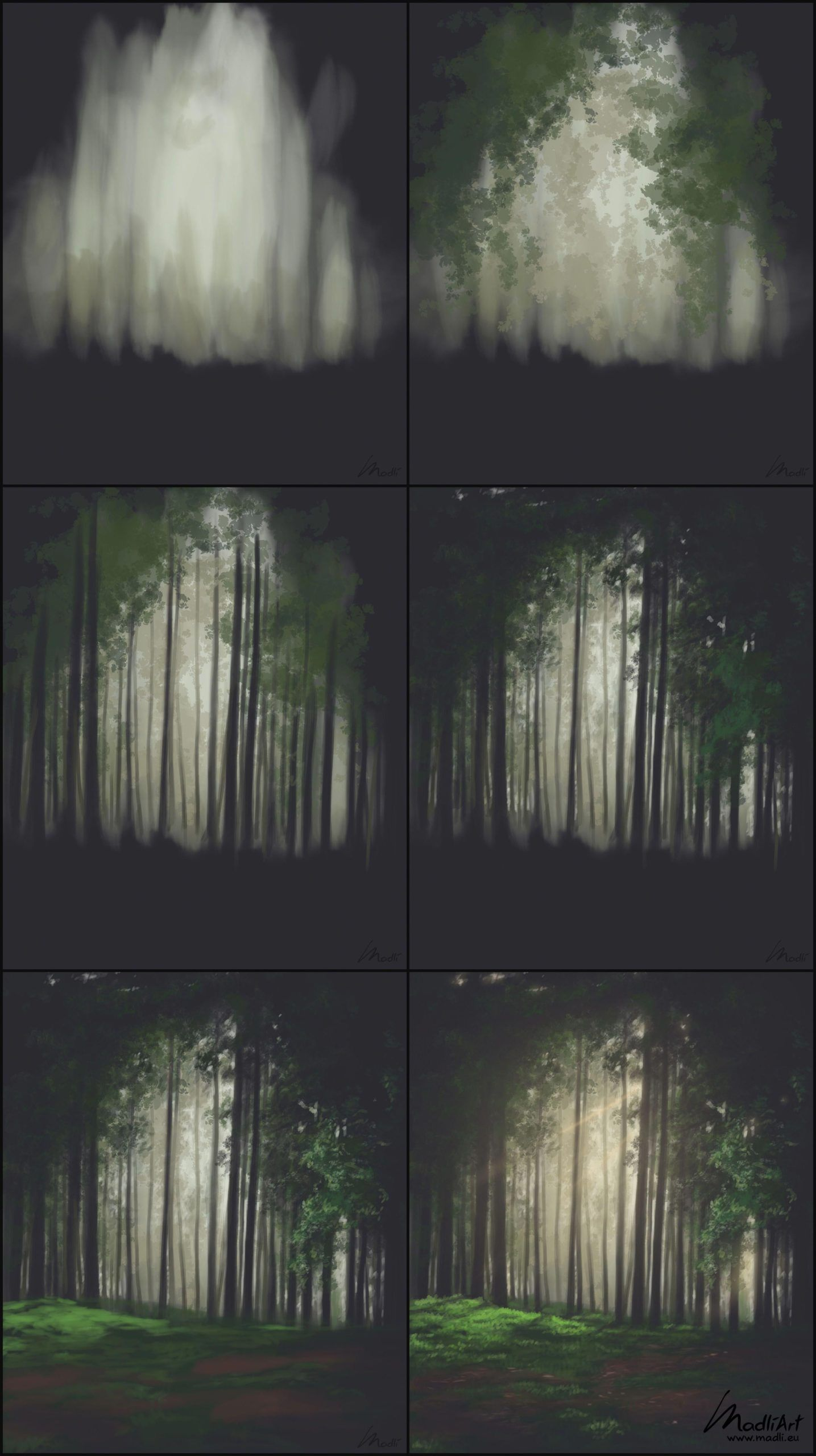 How to paint green lush forest. Digital painting of beautiful evening light. F ... - #Beautiful #Digital #evening #forest #green #IllustrationArt #Light #lush #Paint #painting #PaintingArt #WatercolorArt