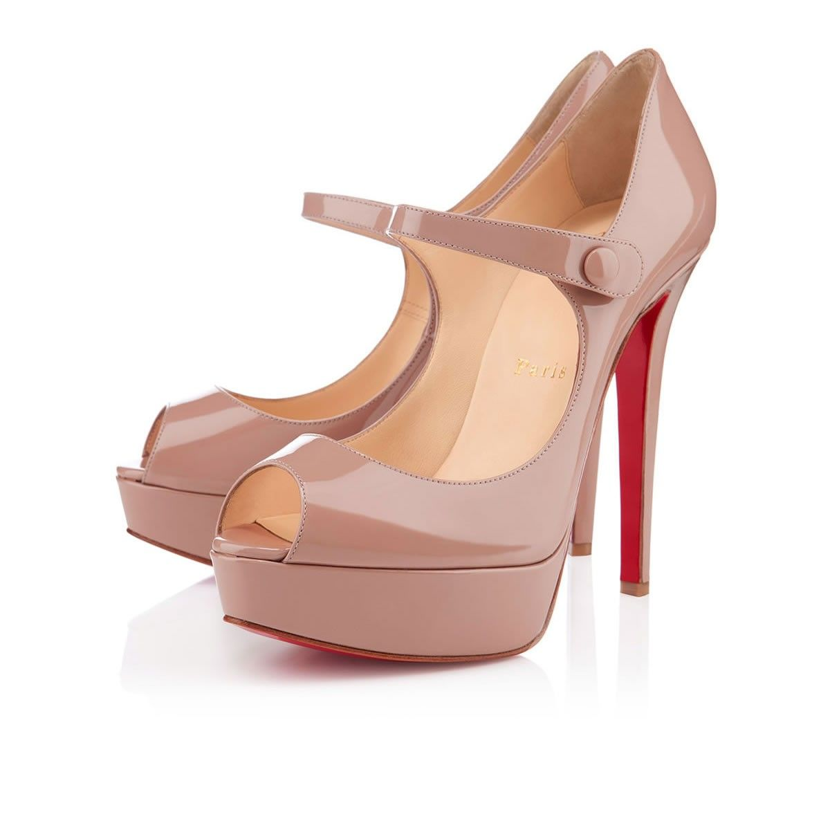 BANA PATENT 140 mm, Patent Leather, nude, platforms, women's shoes.