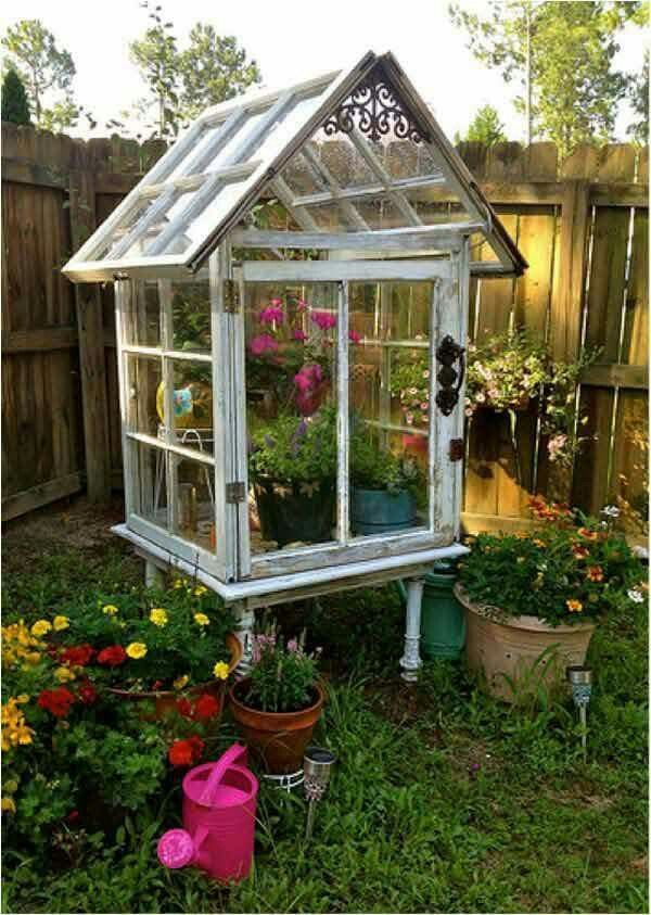 Recycled windows make this awesome greenhouse.