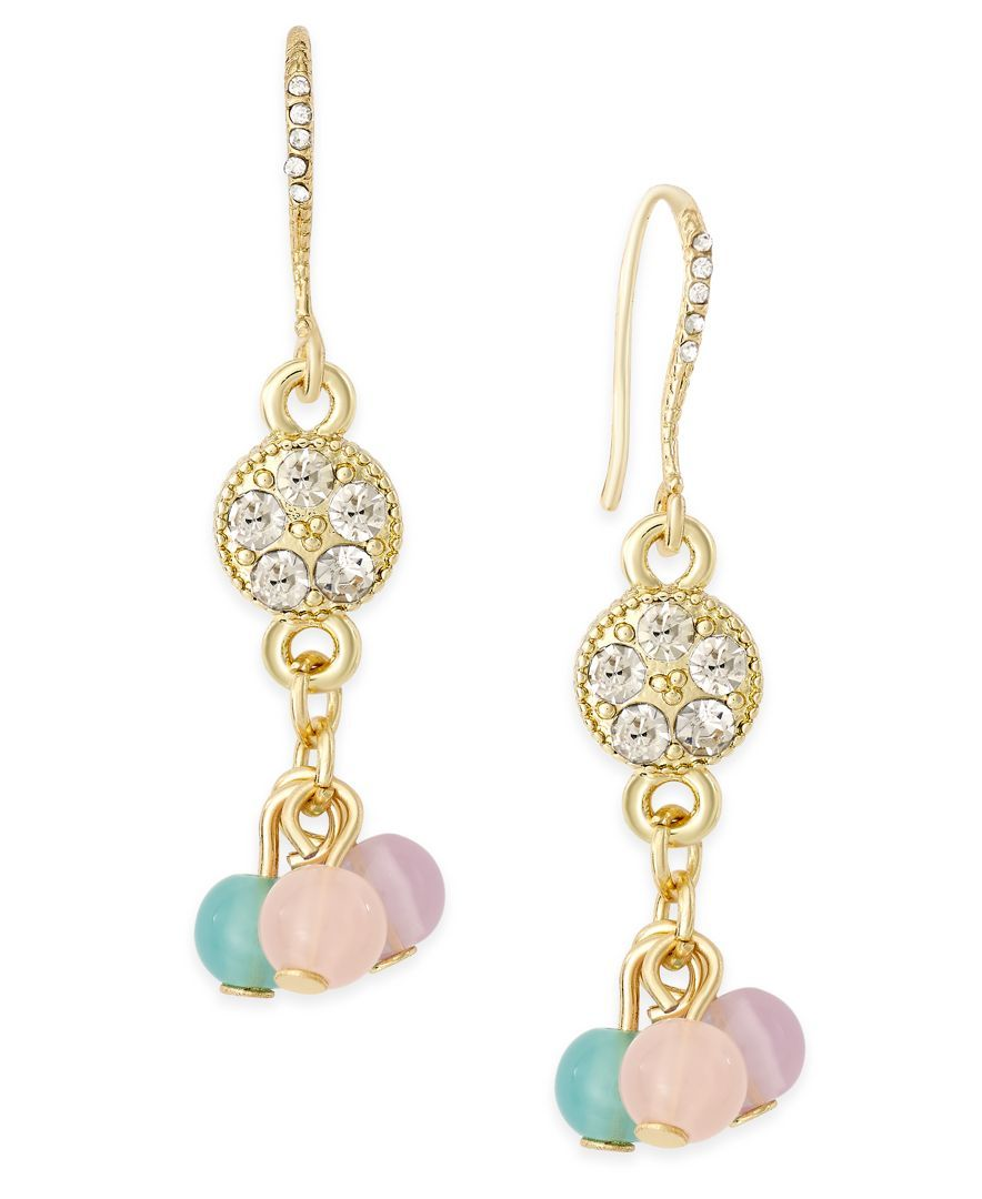 Charter Club Gold-Tone Pave Beaded Drop Earrings, Only at Macy's