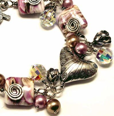 Sylvia White - Galadryl Schmuckdesign auf KUSELVER, Rosa Sterling Silber Armband mit handgemachten Glasperlen