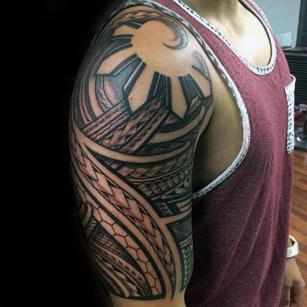 50 filipino sun tattoo designs for men tribal ink ideas for Filipino tribal tattoos and meanings