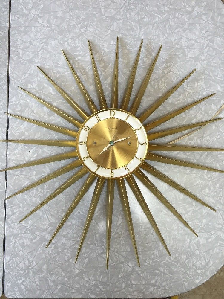 Vintage Spartus Sunburst Wall Clock Retro Mid Century Modern Retro Wall Clock Wall Clock Clock