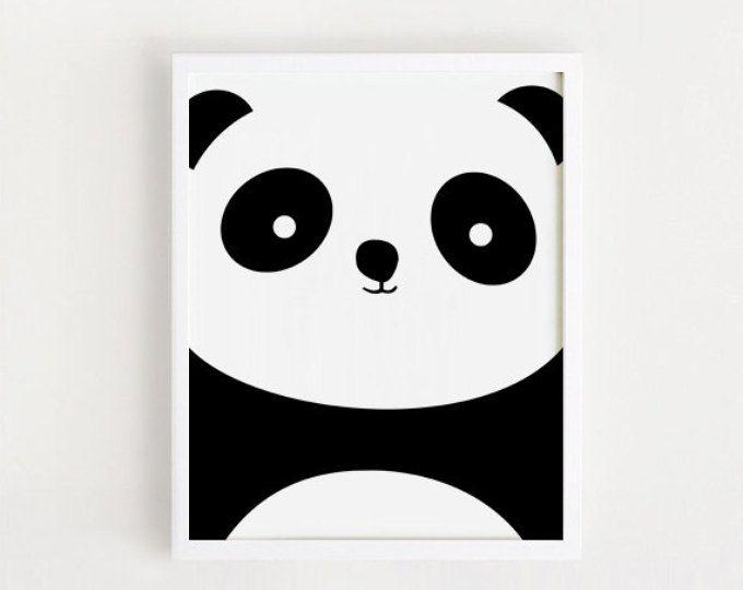 vivero para imprimir lámina Panda Panda cartel negro y blanco Simple ...