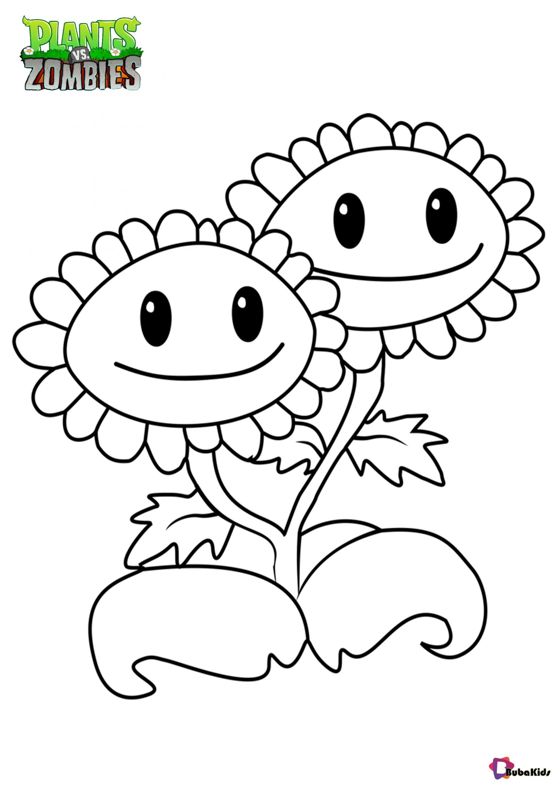 Plants Vs Zombies Twin Sunflower Coloring Page Collection Of Cartoon Colorin Sunflower Coloring Pages Precious Moments Coloring Pages Free Kids Coloring Pages