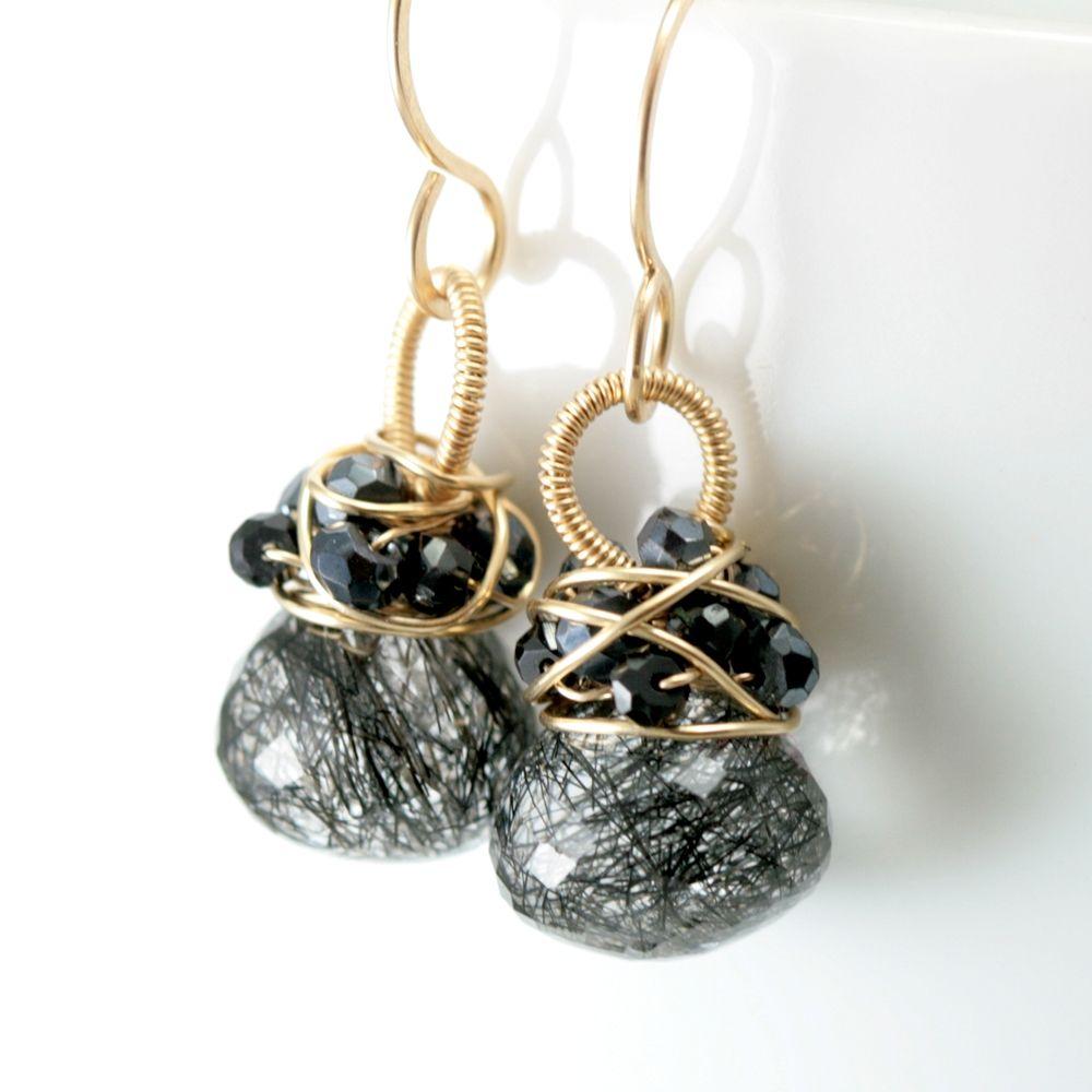 Gemstone Wire Wrapped Bitty Earrings