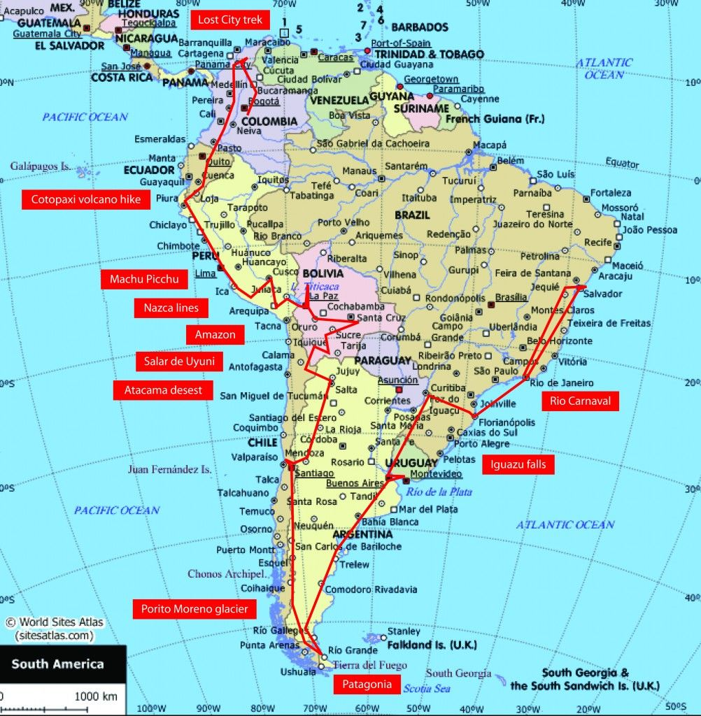 Map Of America Travel.South America Route Places To Hit Backpacking South