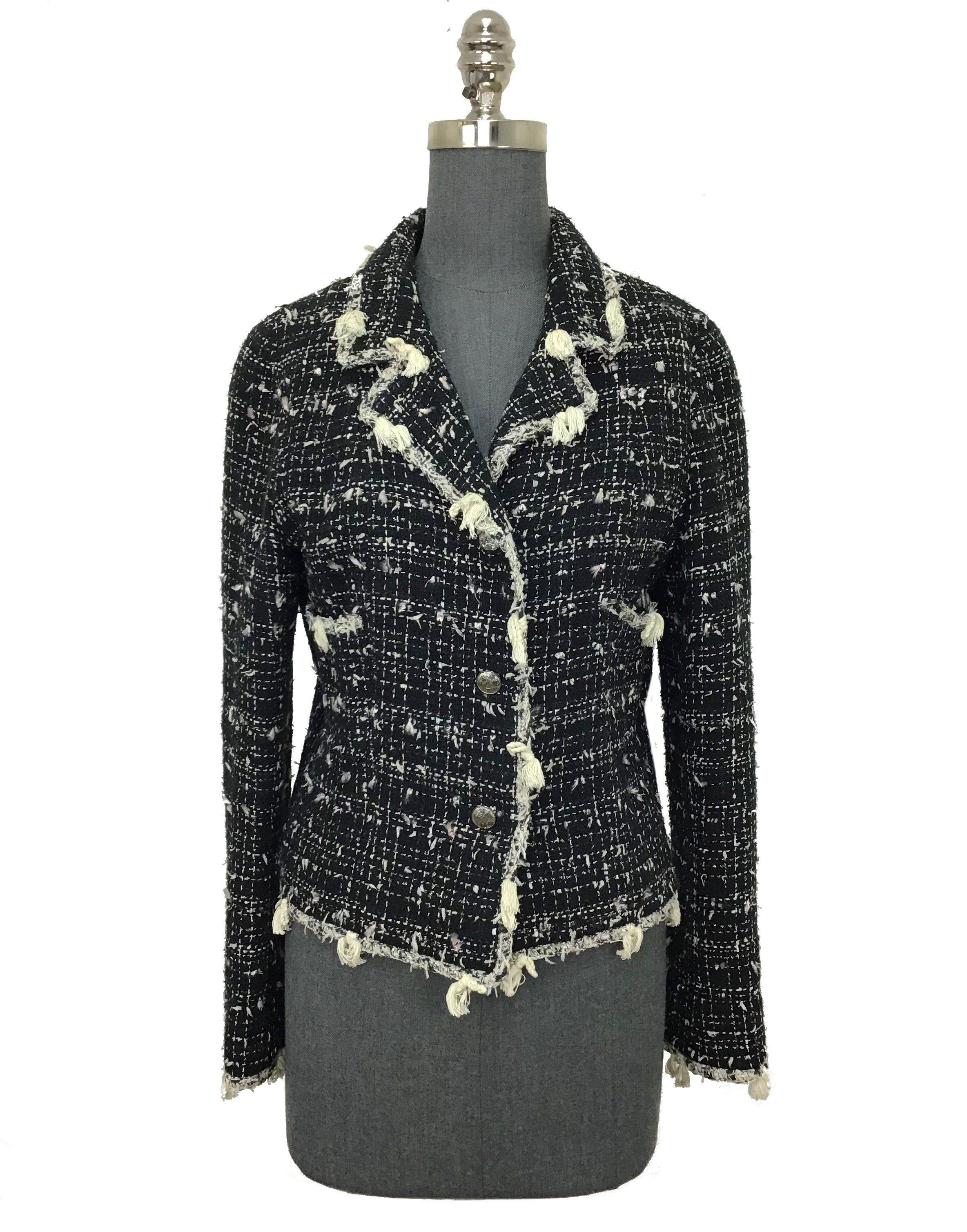 1baa915b9 Chanel Textured Tweed Jacket with Fringe Size M   Products   Tweed ...